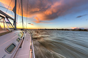 Charters Prints - Sailboat Sunset Charleston Battery Print by Dustin K Ryan