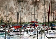 Blue And Gray Drawings - Sailboats At Night by Derek Mccrea