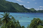 Scenic Overlooks Prints - Sailboats Float In Azure Water Print by Michael Melford