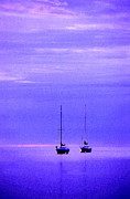 Door County Posters - Sailboats in Blue Poster by Timothy Johnson