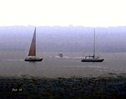 Motif 1 Posters - Sailboats in Fog Poster by Dale   Ford