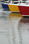 Sailboats In Water Art - Sailboats in Primary Colors by Julie Bostian
