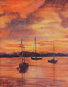 Pauline  Kretler - Sailboats in the Sunset
