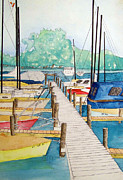Ithaca Mixed Media Prints - Sailboats Ithaca New York Print by Charles Taggart