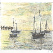 Sailboats Drawings - Sailboats by Larry Oldham