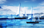 Blue Sea Prints - Sailboats Print by MW Robbins