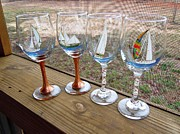 Painted Wine Glass Glass Art - Sailboats on glass by Pauline Ross