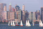 Boats Tapestries Textiles - Sailboats on the Hudson II by Clarence Holmes