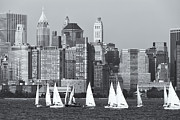 Boats Photos - Sailboats on the Hudson V by Clarence Holmes