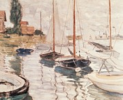 Pier Painting Posters - Sailboats on the Seine Poster by Claude Monet