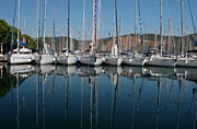 Docked Sailboats Prints - Sailboats Reflected Print by Sally Weigand