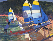 South Of France Paintings - Sailboats South of France by Andrew Macara