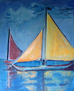 All - Sailboats with Red and Yellow Sails by Betty Pieper