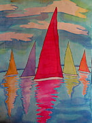 Transportation Tapestries - Textiles Metal Prints - Sailboats Metal Print by Yvonne Feavearyear