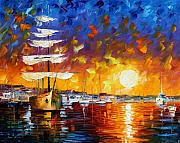 Canal Painting Originals - Sailer by Leonid Afremov