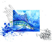 Fishing Mixed Media Acrylic Prints - Sailfish and Baitball Acrylic Print by Amber M  Moran