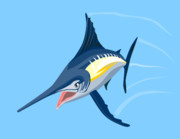 Game Prints - Sailfish Diving Print by Aloysius Patrimonio