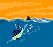 Jumping   Digital Art Posters - Sailfish Fish Jumping Retro Poster by Aloysius Patrimonio