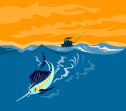 Jumping   Digital Art Posters - Sailfish fishing boat Poster by Aloysius Patrimonio