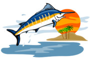 Jumping   Digital Art Posters - Sailfish Island Poster by Aloysius Patrimonio