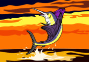 Fish Digital Art Prints - Sailfish Jumping retro Print by Aloysius Patrimonio