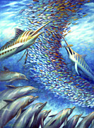 Dorado Posters - Sailfish Plunders Baitball I - Marlin and Dolphin Poster by Nancy Tilles