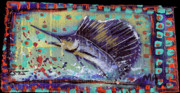 Sailfish Mixed Media Framed Prints - Sailfish Framed Print by Robert Wolverton Jr