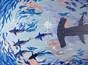 Bull Shark Paintings - Sailfish Splash Park Mural 8 by Carey Chen