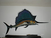 Wood Wall Hangings Prints - Sailfish Print by Val Oconnor