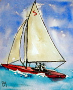 Seascape Drawings Originals - Sailin by Pete Maier