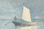Blue Sailboat Metal Prints - Sailing a Dory Metal Print by Winslow Homer