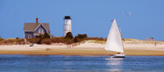 Catboat Framed Prints - Sailing Around Sandy Neck Lighthouse Framed Print by Charles Harden