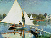 Mooring Painting Posters - Sailing at Argenteuil Poster by Claude Monet