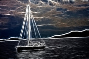Sailing At Night Print by Mila Agirre