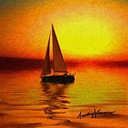 Calm Waters Posters - Sailing at Sunset Poster by Anthony Caruso