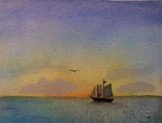 Key West Paintings - Sailing at Sunset by Carolyn Curtice