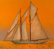 Transportation Drawings Originals - Sailing At Sunset by Dan Hausel
