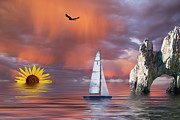 Color Mixed Media Posters - Sailing at Sunset Poster by Shane Bechler