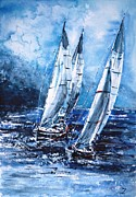 Yacht Paintings - Sailing away from the storm by Zaira Dzhaubaeva