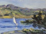 Mountains Painting Originals - Sailing Away on Steamboat Lake Colorado by Zanobia Shalks