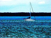 Sail Fish Prints - Sailing Away Photo Impressionism Print by Annie Zeno