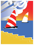 Regatta Prints - Sailing Before the Wind Print by Joe Barsin