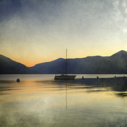 Lake Maggiore Posters - Sailing Boat In The Sunset Poster by Joana Kruse