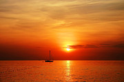 Anusorn Phuengprasert Nachol Prints - Sailing Boat Sunset At Kata Beach Phuket  Print by Anusorn Phuengprasert nachol