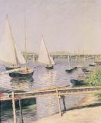 Moored Paintings - Sailing boats at Argenteuil by Gustave Caillebotte