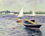 Sailboat Ocean Paintings - Sailing Boats at Argenteuil by Gustave Caillebotte