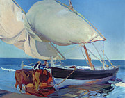 Shores Painting Prints - Sailing Boats Print by Joaquin Sorolla y Bastida