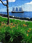 Tall Ships Prints - Sailing By Print by Deborah MacQuarrie