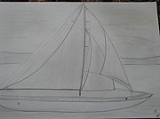 Sailboats Drawings - Sailing by Christina Pereira