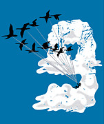 Geese Digital Art Posters - Sailing Cloud Nine Poster by Laura Brightwood